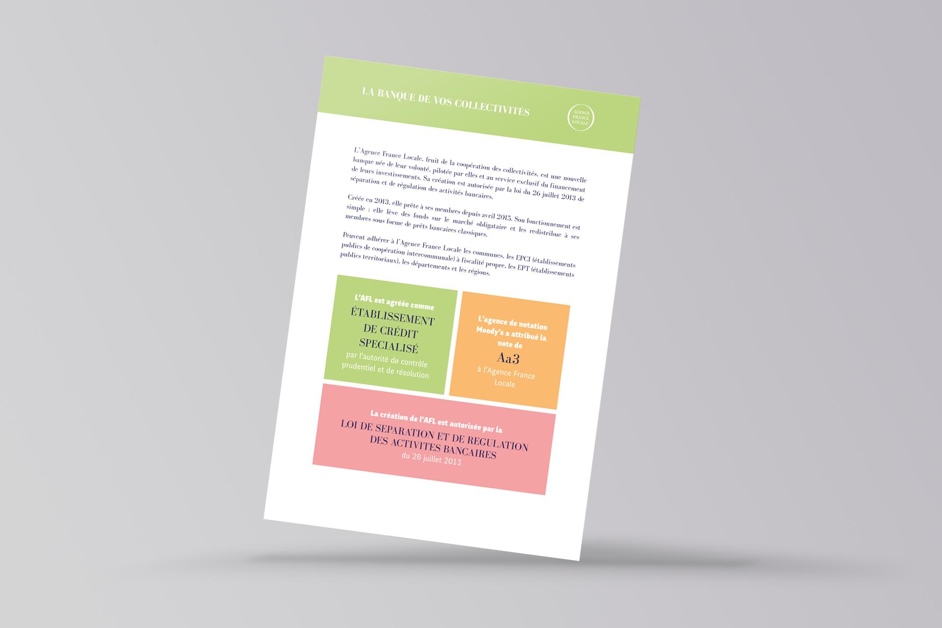 identité institutionnelle colorée pour les invitations de l'Agence France Locale