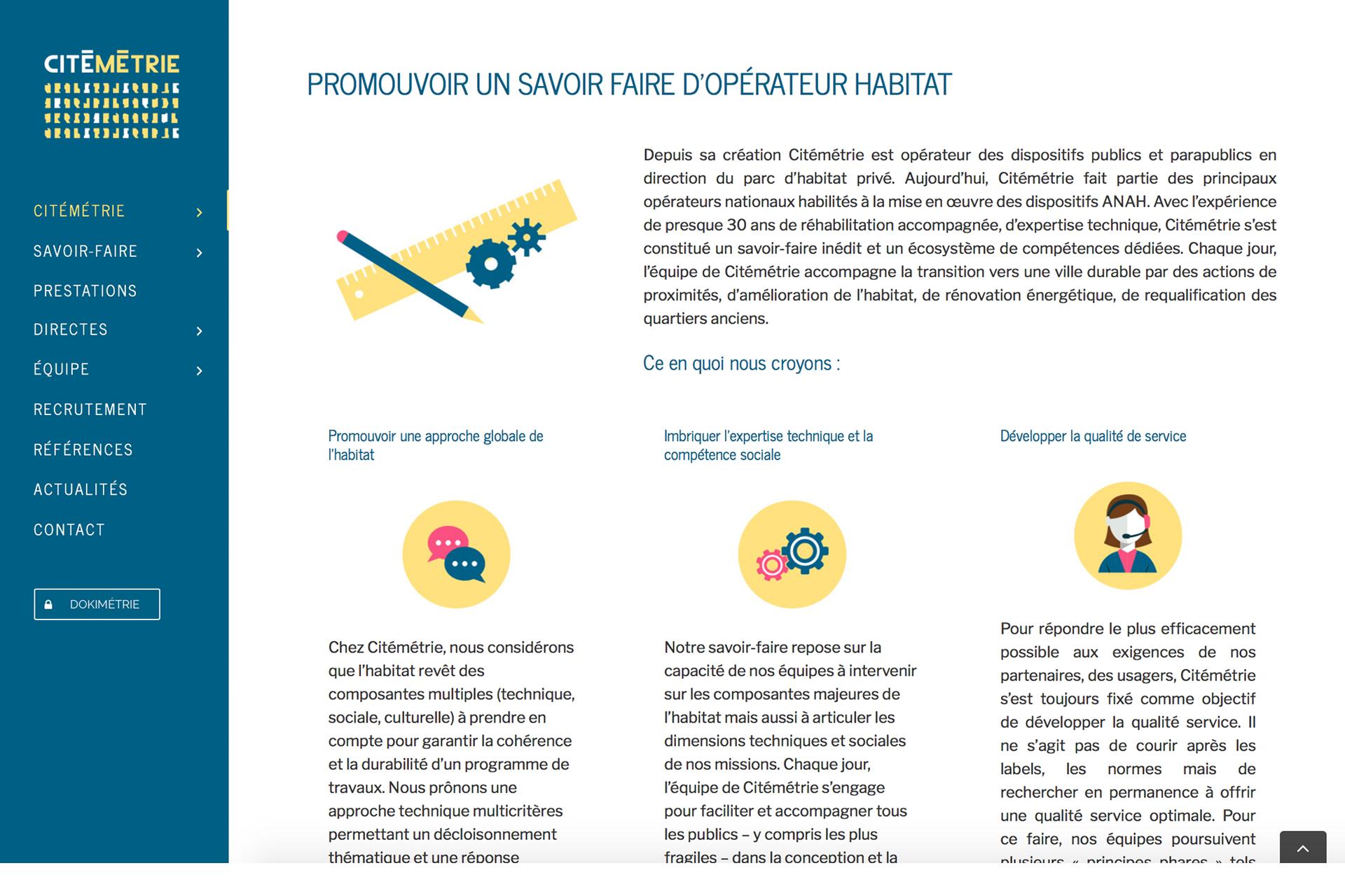 Site illustrations et mise en page Citémétrie